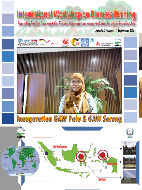 •International workshop on Forecasting Emissions from Vegetation Fires and their Impacts on Human Health and Security in South East Asia, organized by the World Meteorological Organisation (WMO) and the International Biomass Burning Initiative (IBBI), Indonesian Agency for Meteorological, Climatology and Geophysics (BMKG), Jakarta, Indonesia, 29 August – 1 September 2016